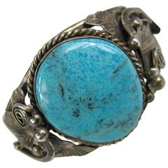 Sterling Silver Native American Navajo Large Turquoise stone Cuff Bracelet