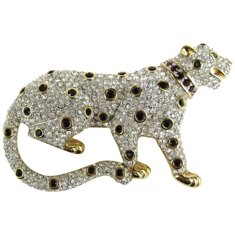 Stunning Vintage SWAROVSKI Gold Gilt Leopard Cat Brooch Never Worn  1