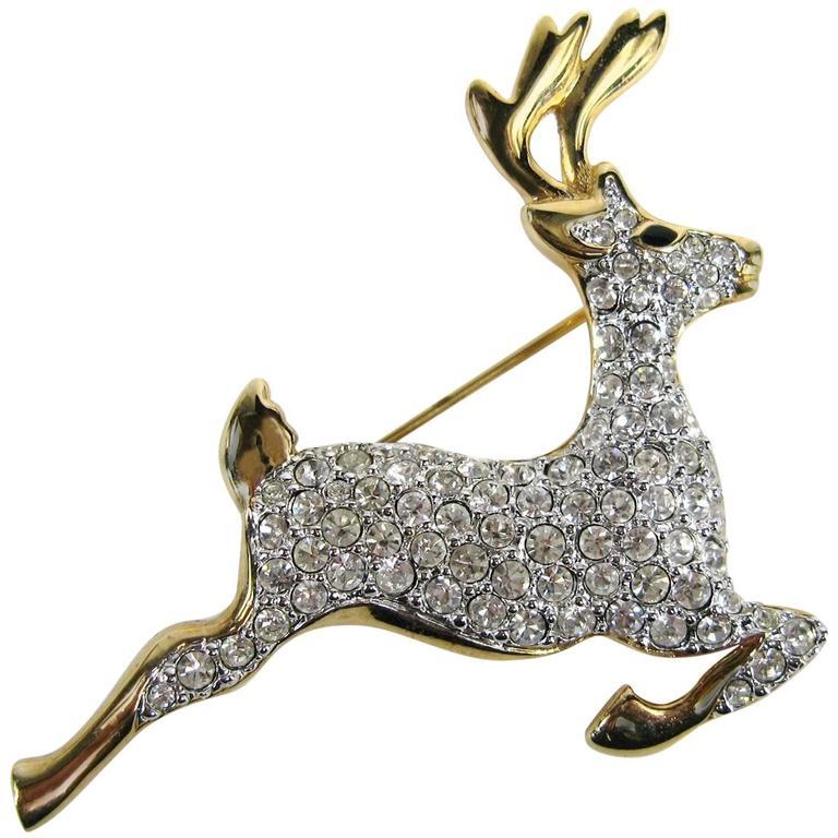 SWAROVSKI Crystal Deer Gold Gilt Brooch Pin Never Worn 1990s  For Sale