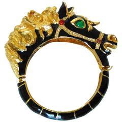 Black Horse Clamper Bracelet Enamel Jeweled Equestrian Motif 1970s