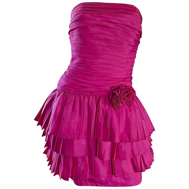 Vintage TADASHI 1990s Hot Pink Fuchsia Taffeta Strapless 90s Pouf Cocktail Dress