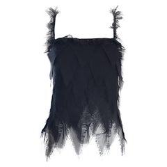 Vintage Moschino Black Silk Chiffon 1990s Sleevless Harlequin 90s Top Blouse