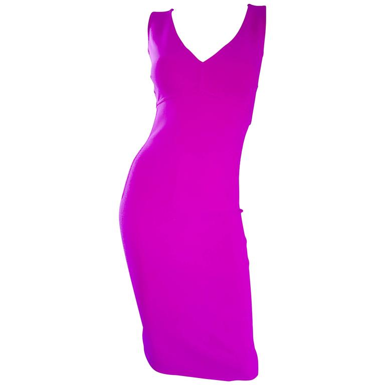 Michael Kors Collection Fuchsia Hot Pink Double Face Wool Runway Dress, Size 10  For Sale