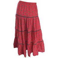 1970s Joseph Magnin Bandana Print in Red Paisley Tiered Midi Boho Skirt or Dress