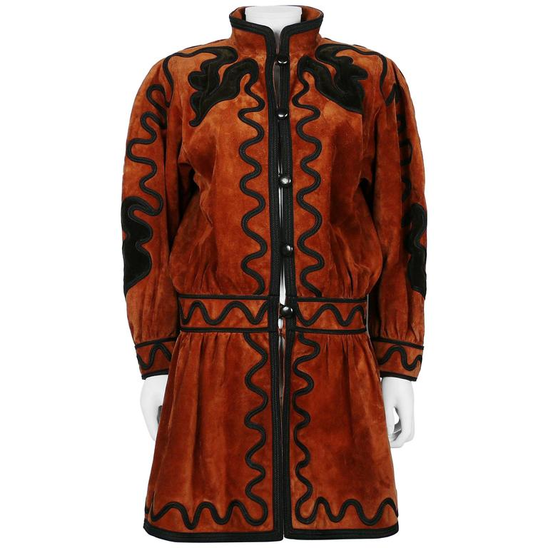 Yves Saint Laurent YSL Haute Couture Russian Inspired Embroidered Suede Jacket