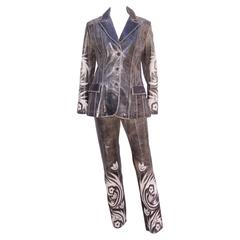 Hip 1990's Roberto Cavalli Stitched Distressed Leather Jacket Pant Suit