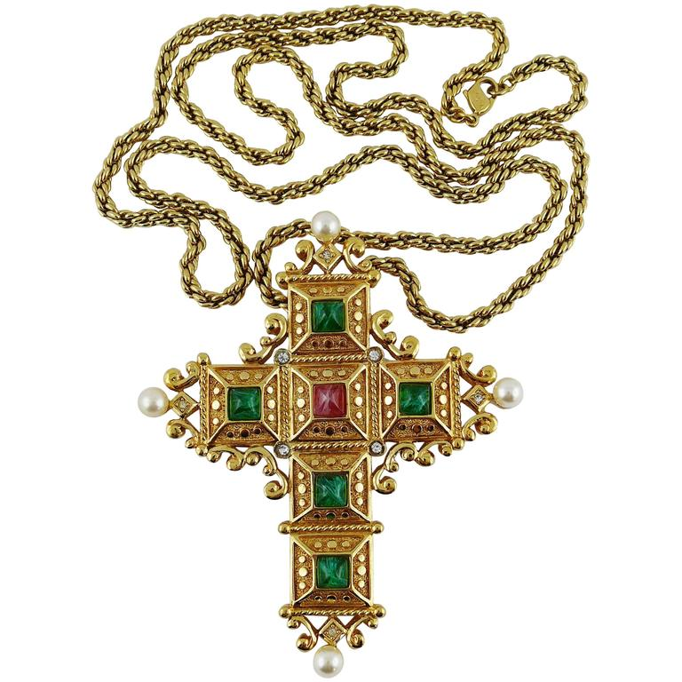 Christian Dior Vintage Bejeweled Cross Pendant Necklace Brooch 1