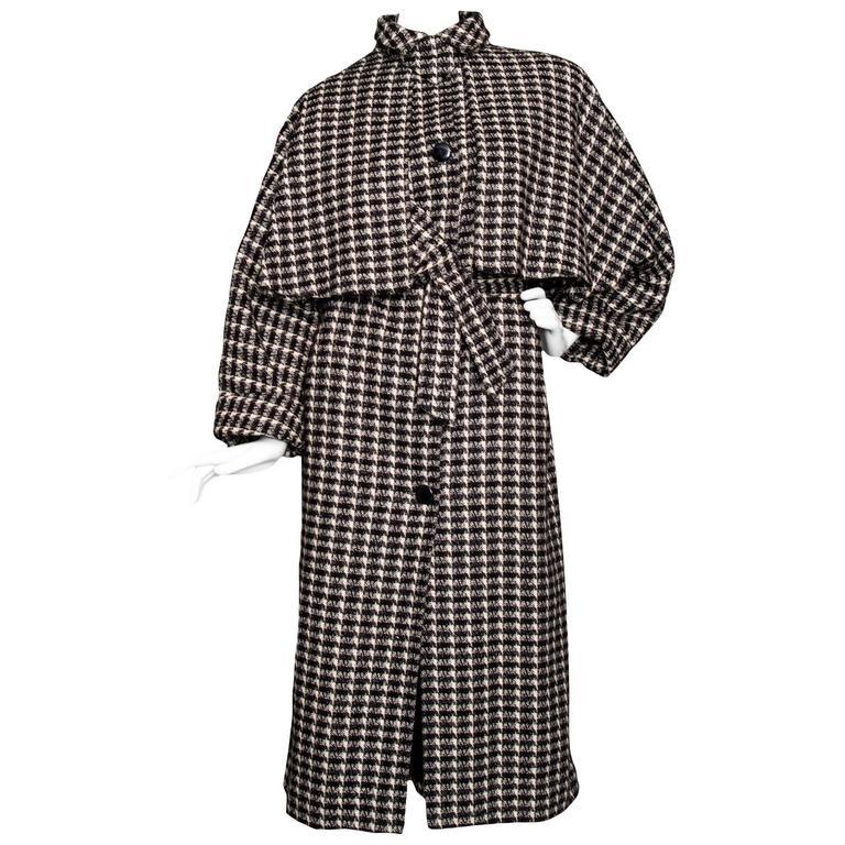 A 1980s Lanvin Capped Tartan Wool Coat  For Sale