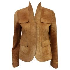 Akris Punto Tan Lambskin Fitted Jacket W Shawl Collar and Elongated Sleeves
