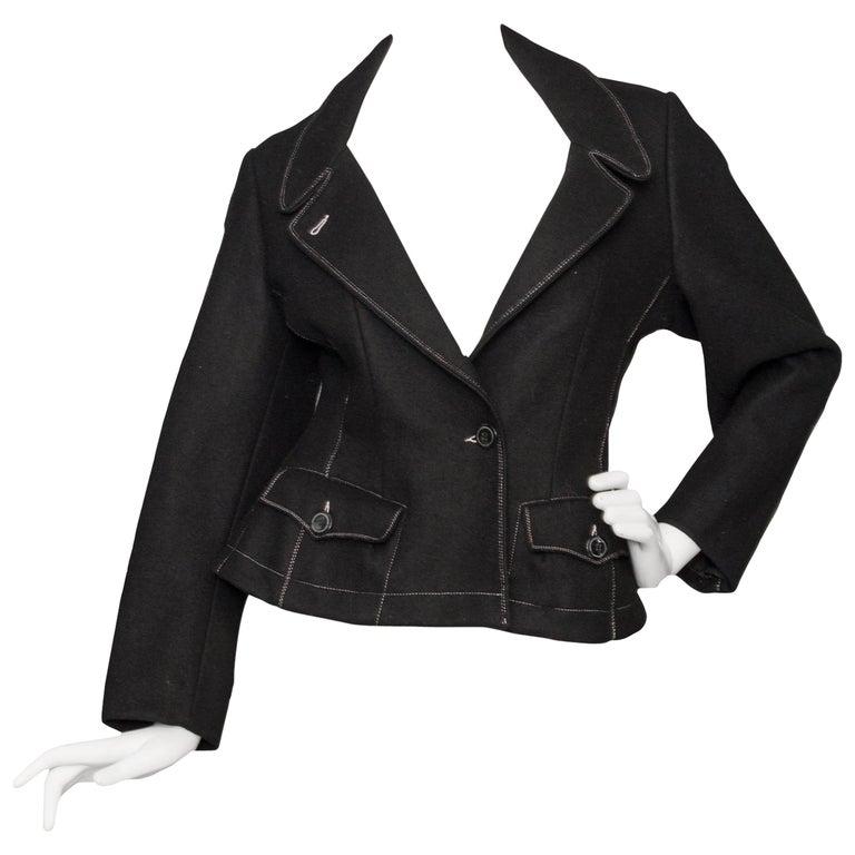 A 1990s Black Gaultier Felt Blazer Jacket