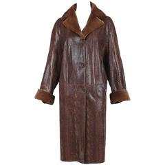 Vintage J. Mendel Leather Coat w/Fur Interior & Trim