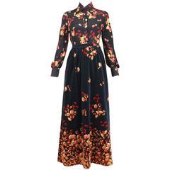1970s Valentino Black Silk Blouse and Navy Velvet Maxi Skirt Set w/Acorn Print