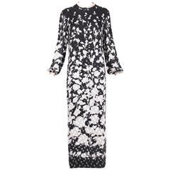 1976 Pauline Trigere Black & White Silk Floral Print Robe Dress W/Velvet Texture