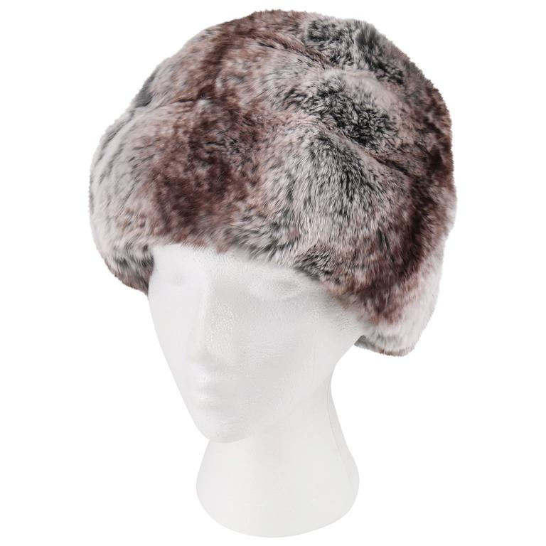 CHRISTIAN DIOR Chapeaux c.1960 s MARC BOHAN Chinchilla Fur Tiered Cossack  Hat For Sale 6e2f7cc119f