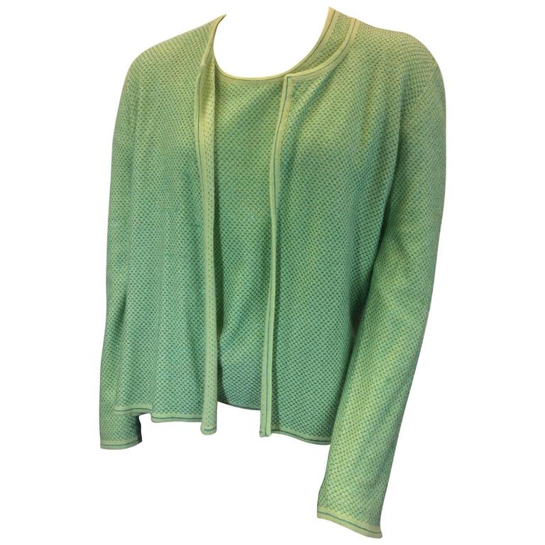 Chanel Green Cashmere Cardigan Set with Blue Metallic Print For ...