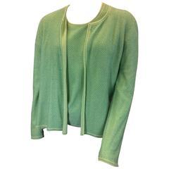 Chanel Green Cashmere Cardigan Set with Blue Metallic Print