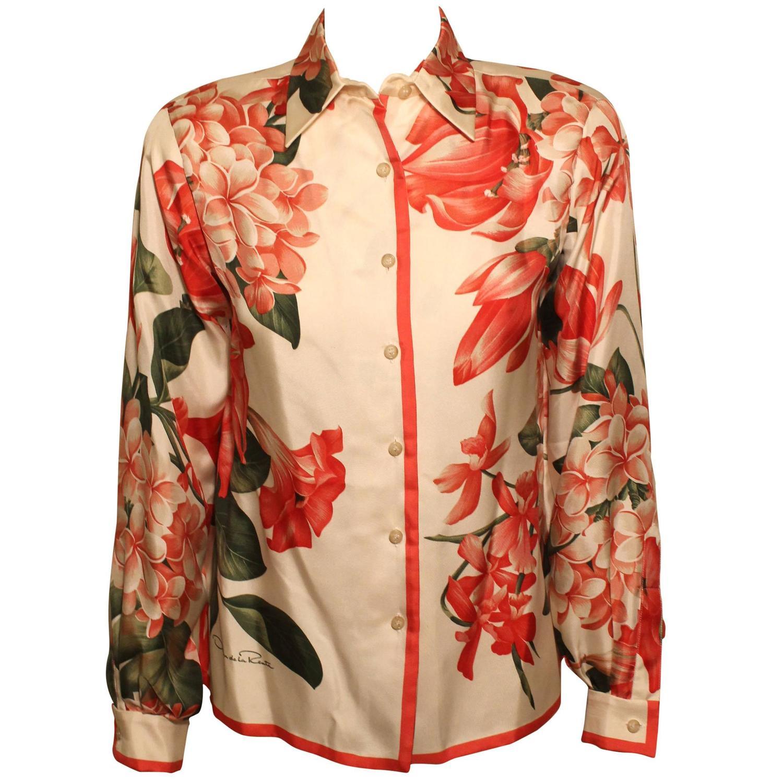 Vintage 1970s Oscar de la Renta Silk Floral Blouse For ...