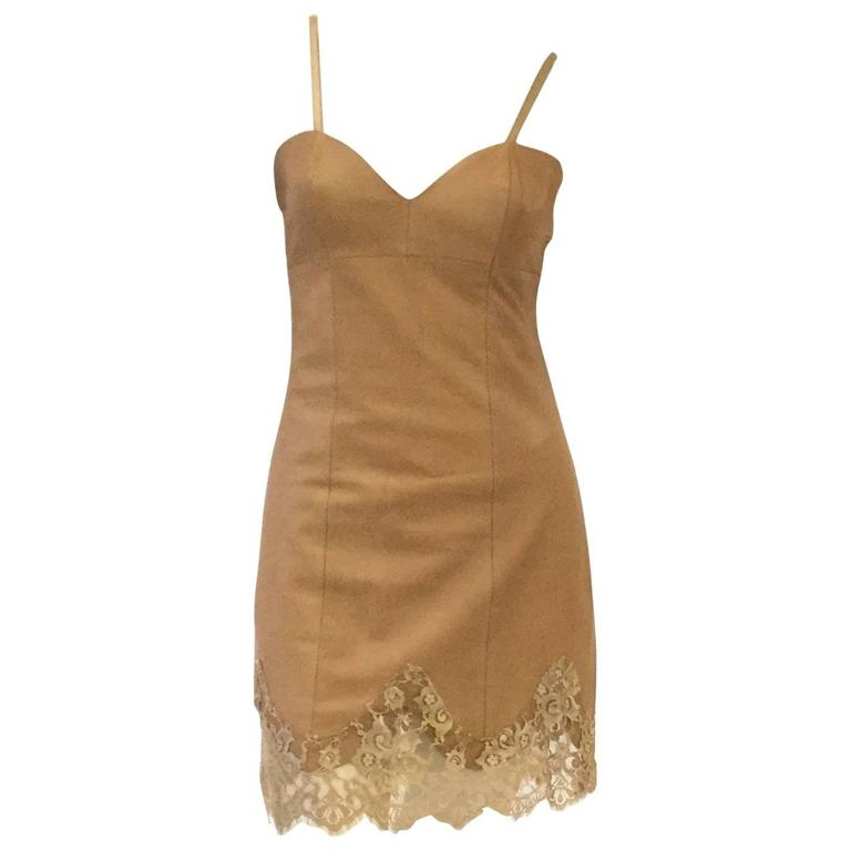 1980s Michael Hoban North Beach Caramel Slip Dress in Leather and Lace 1