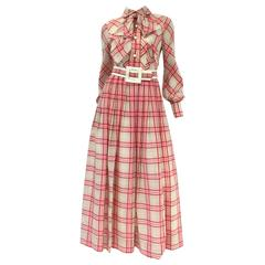 1970s Victor Costa Pink Plaid Bow Collar Dress with Belt