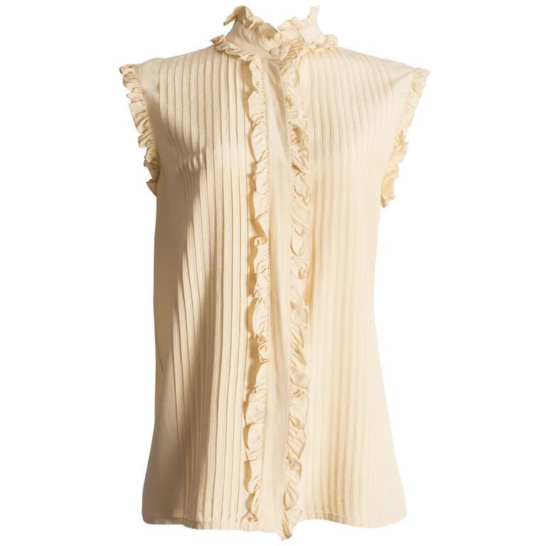 Chanel ivory silk pintuck blouse, circa 1970