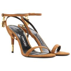 Tom Ford NEW & SOLD OUT Cognac Suede Gold Lock Evening Sandals Heels in Box