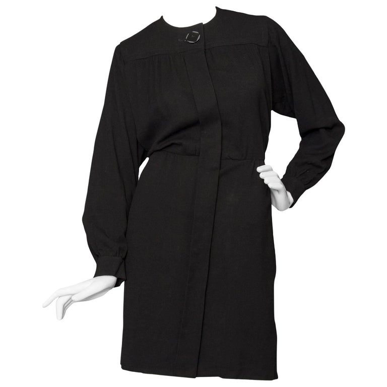 A 1980s Black Yves Saint Laurent Rive Gauche Wool Dress