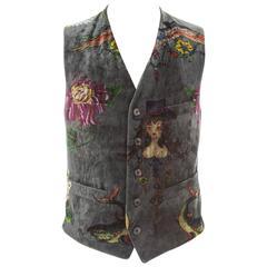 Yohji Yamamoto Men's Printed Velvet Waistcoat
