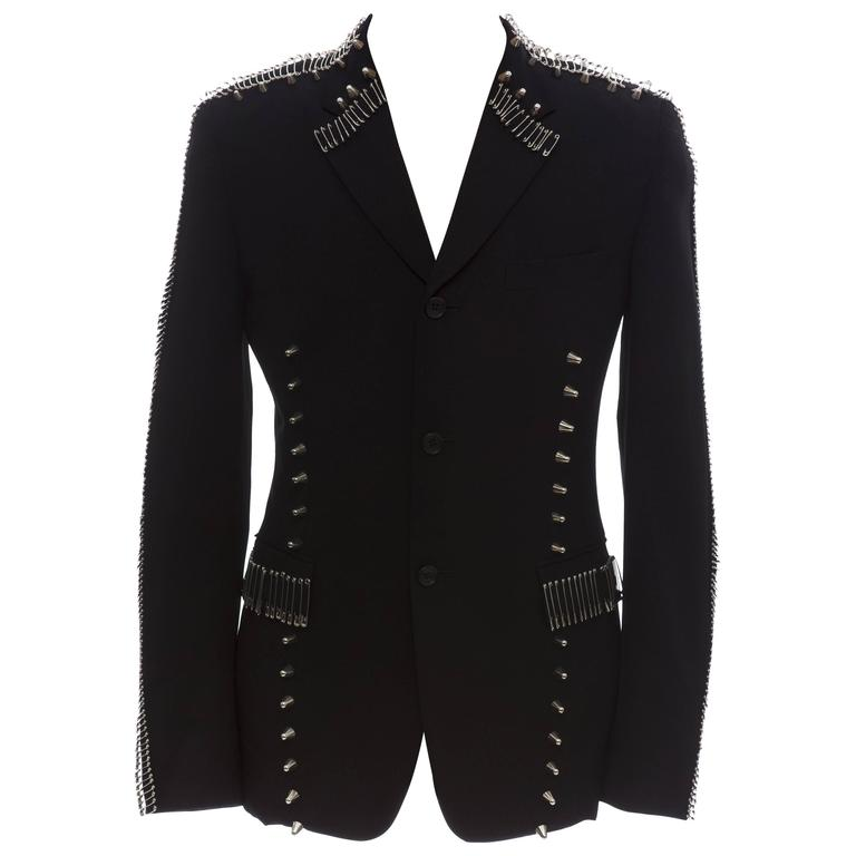 99%IS Comme Des Garcons Homme Plus Black Wool Blazer Safety Pin Embellishments For Sale