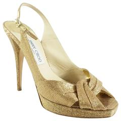 Jimmy Choo Gold Fabric Slingback Heels - 40