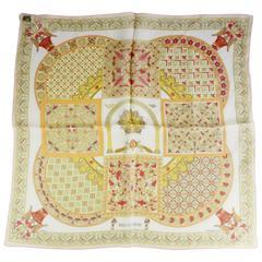 "Hermes Pink Silk Chiffon ""Ciels Byzantins"" Print Pocket Square"