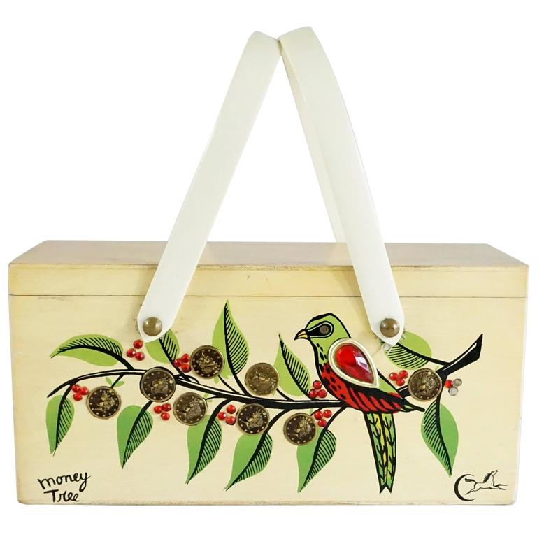 "Enid Collins Beige Wood ""Money Tree"" Painted Bag with Coins - 1960's"