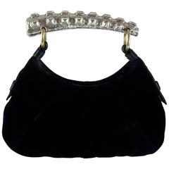 Tom Ford for YSL Black Velvet Mombasa Bag with Rhinestone Handle