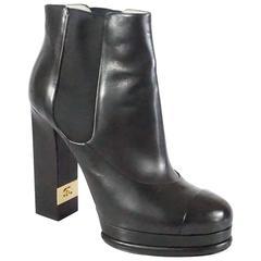 Chanel Black Leather Platform Ankle Boots - 37.5