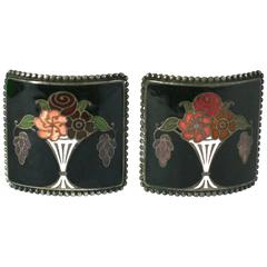 French Art Deco Enamel Shoe Buckles