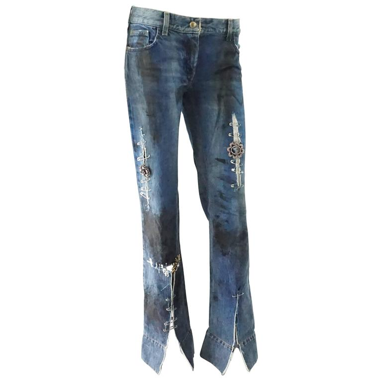 Dolce & Gabbana Ripped Grunge Jeans with Rhinestone Brooches - S