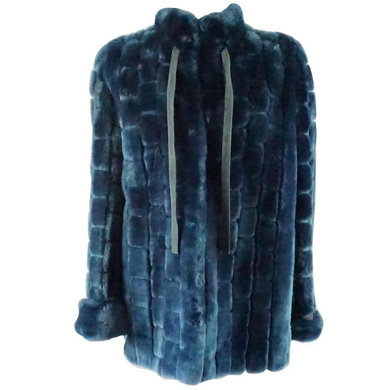 Christian Dior Vintage Blue Faux Fur Coat - L - 1990's  For Sale