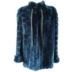 Christian Dior Vintage Blue Faux Fur Coat - L - 1990's