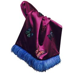 Nina Ricci Haute Couture Silk Shawl W Butterfly Appliques and Ostrich Feathers