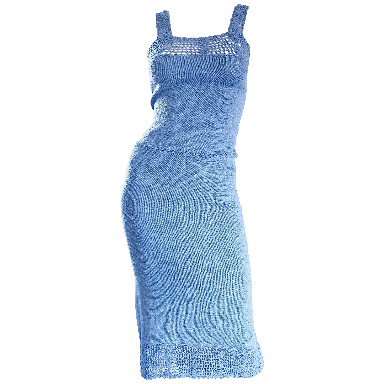 Oscar de la Renta Light Blue Knit Crochet Vintage Sleeveless Dress, 1970s