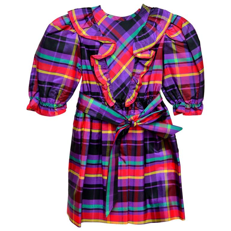 YSL Vintage 80's Yves Saint Laurent Little Girl's Plaid Dress  NEW