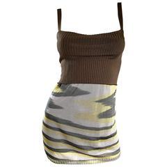 1990s Missoni 90s Vintage Mini Dress, Tunic Top, Or Skirt Zig Zag Brown + Yellow