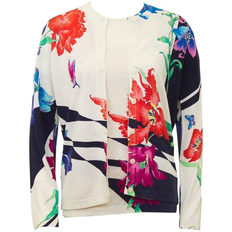 1980's Leonard Floral Pattern Sweater Set 1