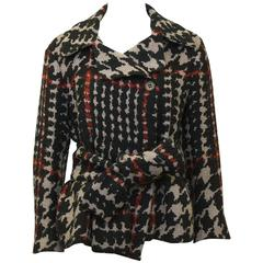 1980's Sonia Rykiel Houndstooth Belted Wool Jacket