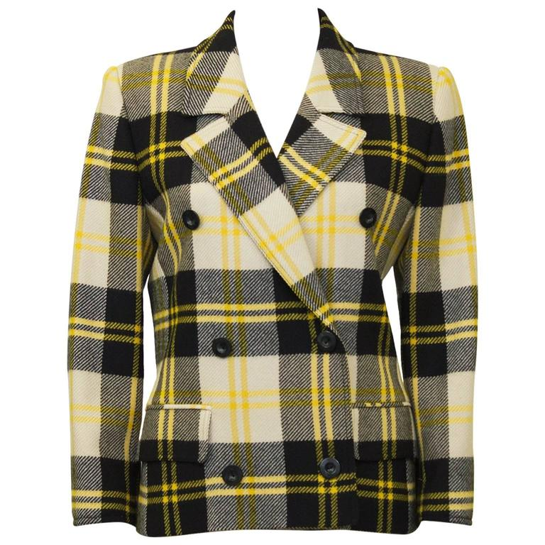 1990's Valentino Yellow Black and White Plaid Wool Blazer