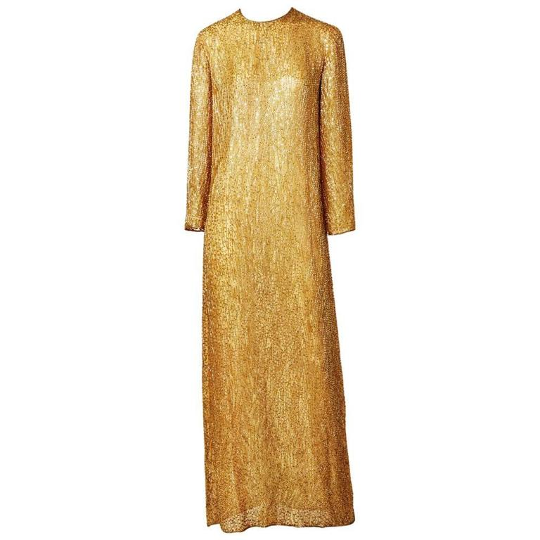 Halston Amber Toned Beaded Gown
