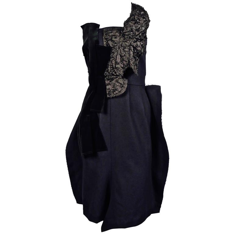 Comme des Garcons navy and black strapless dress, 2010