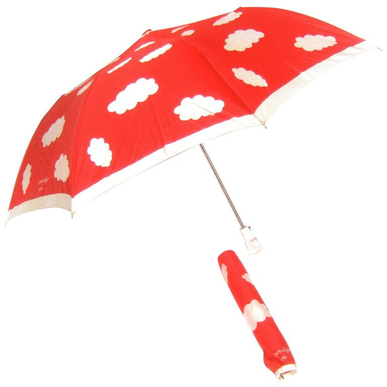 Courreges Paris Rare Mod Cloud Theme Umbrella c 1970s