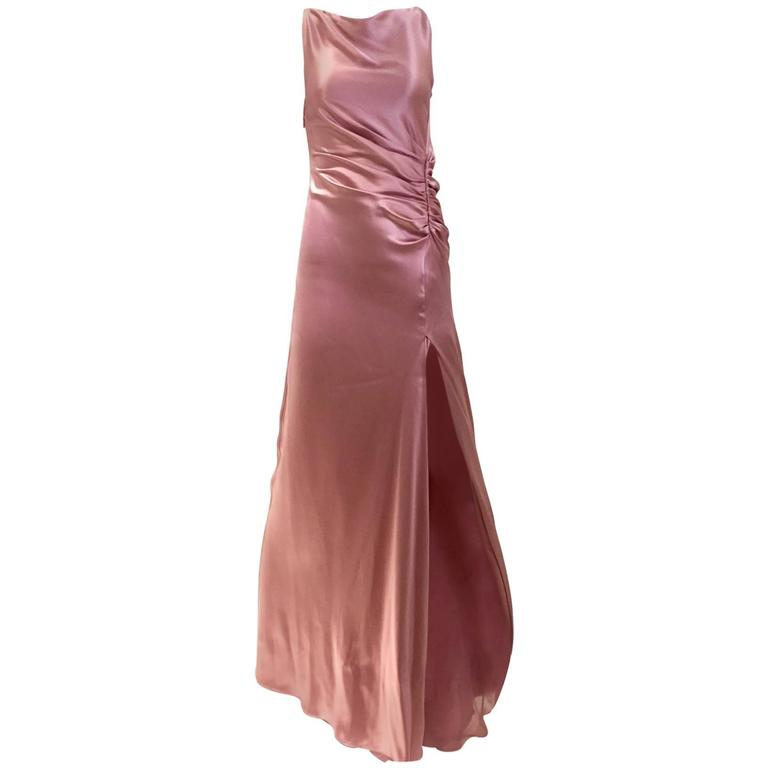 Vintage Gucci by Tom Ford Mauve Pink High Slit Sleeveless 90s Gown ...