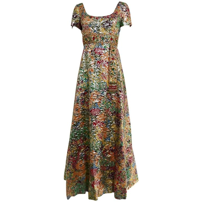 1960s Multi Color Metallic Silk Brocade Dress with Embellishment