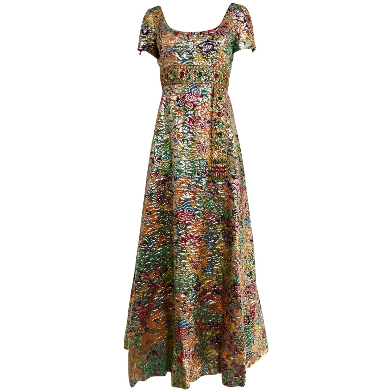 1960s Multi Color Metallic Silk Brocade Dress with Embellishment